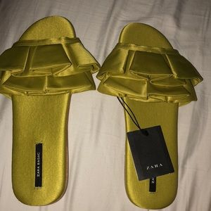 Zara green satin slides NTW
